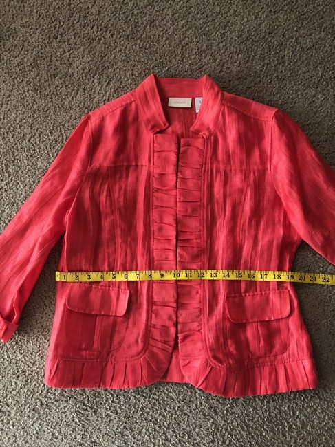 Chico's Linen Draped Casual Summer Coral Jacket Image 6