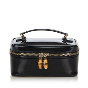 Gucci Gucci Black Patent Leather Bamboo Vanity Bag Italy w Box SMALL