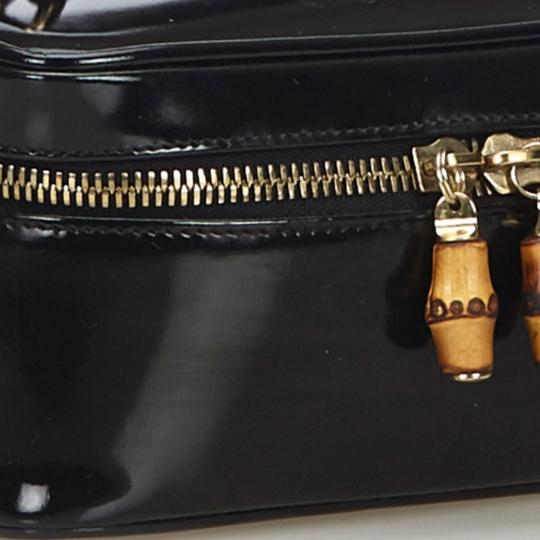 Gucci Gucci Black Patent Leather Bamboo Vanity Bag Italy w Box SMALL Image 11