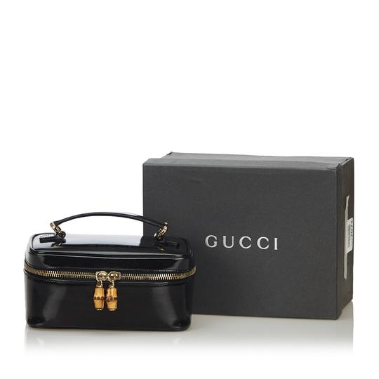 Gucci Gucci Black Patent Leather Bamboo Vanity Bag Italy w Box SMALL Image 9