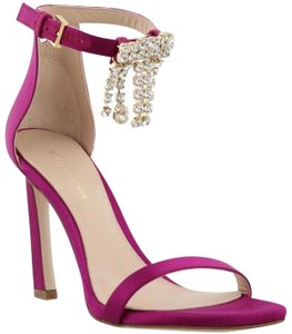 Stuart Weitzman Nudist Stiletto Fringe Crystal Fuchsia Sandals