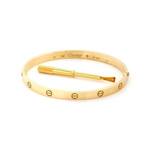 Cartier Love 18k Yellow Gold Bangle Screwdriver & Certificate - Size 21