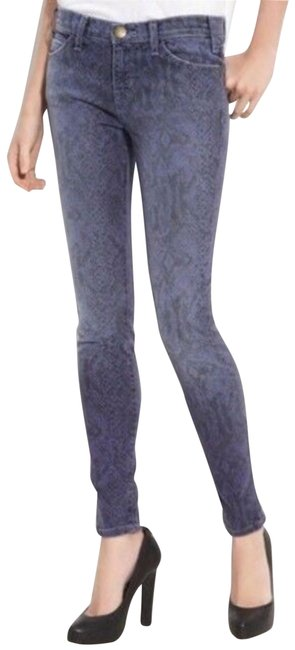 Current/Elliott Blue Purple Light Wash Ankle Ribbon Animal Print Skinny Jeans Size 27 (4, S) Current/Elliott Blue Purple Light Wash Ankle Ribbon Animal Print Skinny Jeans Size 27 (4, S) Image 1