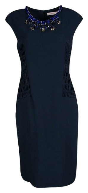 Preload https://img-static.tradesy.com/item/25831301/matthew-williamson-navy-blue-smocked-waist-detail-embellished-neck-sleeveless-mid-length-formal-dres-0-1-650-650.jpg