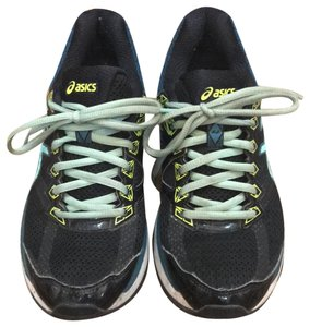 Asics Black with teal and lime green trim Athletic