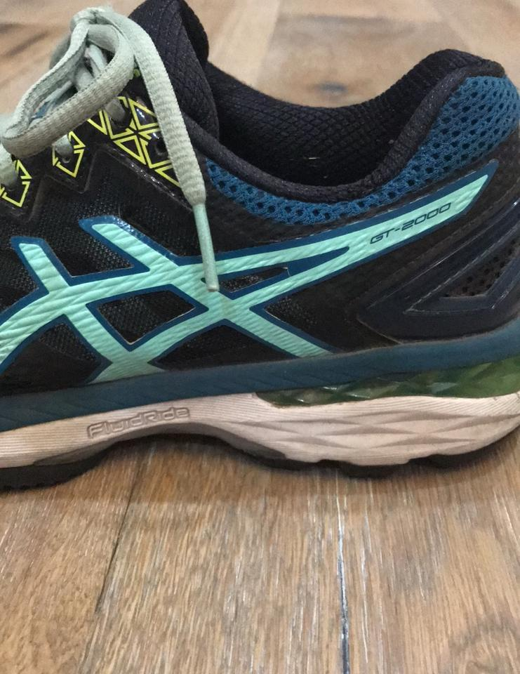 exclusive deals more photos uk availability Asics Black with Teal and Lime Green Trim Dynamic Duomax Sneakers Size US  7.5 Regular (M, B) 58% off retail