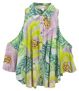 Mara Hoffman #tropical #printed #floral #leaf #button Front Top PINK / GREEN