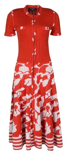 Preload https://img-static.tradesy.com/item/25831469/chanel-orange-and-white-floral-knit-zip-front-long-short-casual-dress-size-8-m-0-1-650-650.jpg