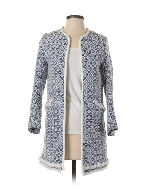 Preload https://img-static.tradesy.com/item/25831473/zara-blue-and-white-frayed-printed-coat-jacket-size-4-s-0-0-650-650.jpg
