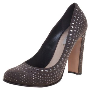 Prada Studded Suede Leather Grey Pumps