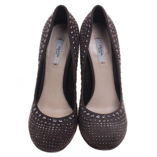 Prada Studded Suede Leather Grey Pumps Image 1