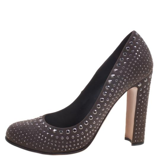 Prada Studded Suede Leather Grey Pumps Image 3