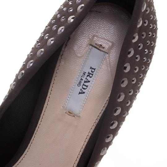 Prada Studded Suede Leather Grey Pumps Image 4