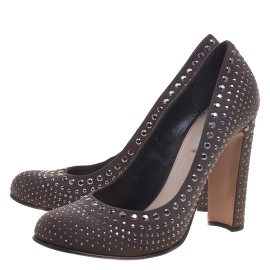 Prada Studded Suede Leather Grey Pumps Image 6
