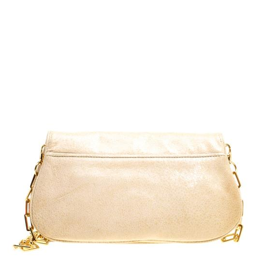 Tory Burch Leather Fabric Beige Clutch Image 1