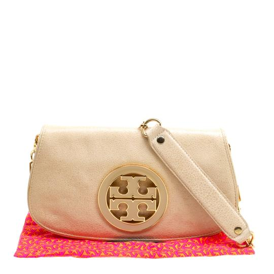 Tory Burch Leather Fabric Beige Clutch Image 10
