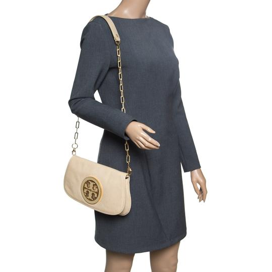 Tory Burch Leather Fabric Beige Clutch Image 2