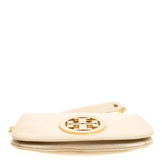 Tory Burch Leather Fabric Beige Clutch Image 3
