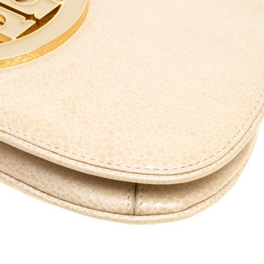 Tory Burch Leather Fabric Beige Clutch Image 4