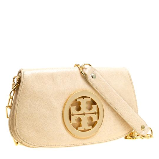 Tory Burch Leather Fabric Beige Clutch Image 5