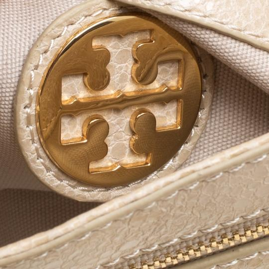 Tory Burch Leather Fabric Beige Clutch Image 7