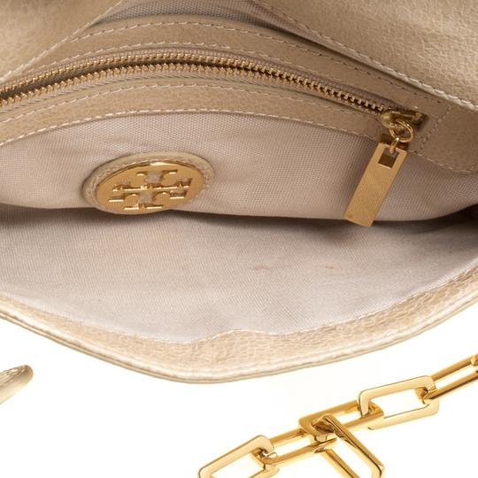 Tory Burch Leather Fabric Beige Clutch Image 8