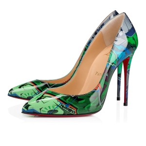 Christian Louboutin Iriza Pigalle Stiletto Leopard Fur Blue Pumps