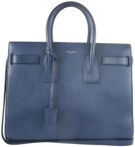 Saint Laurent Sac De Jour Calfskin Small Satchel in Blue