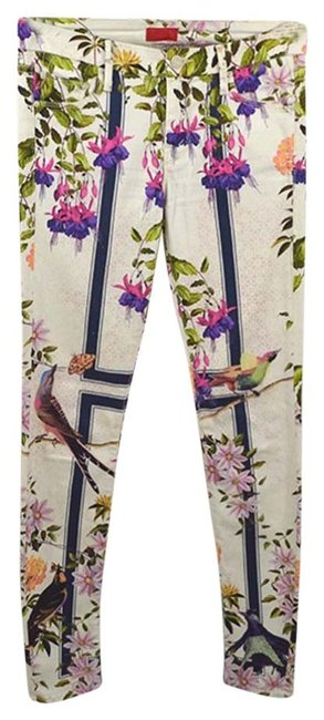 Item - Ivory / Pink Floral Print #186-47 Skinny Jeans Size 26 (2, XS)