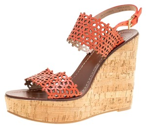 Tory Burch Perforated Leather Cork Wedge Red Sandals