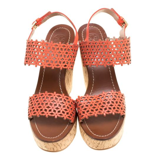 Tory Burch Perforated Leather Cork Wedge Red Sandals Image 1