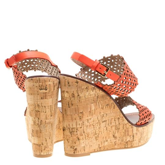 Tory Burch Perforated Leather Cork Wedge Red Sandals Image 2