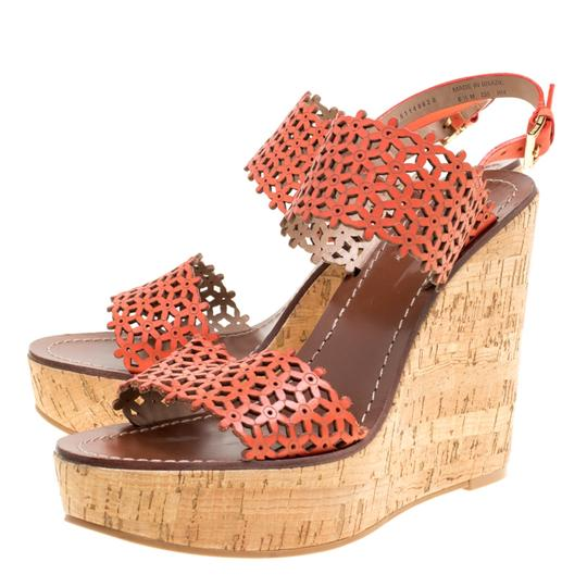 Tory Burch Perforated Leather Cork Wedge Red Sandals Image 4