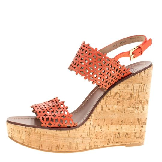 Tory Burch Perforated Leather Cork Wedge Red Sandals Image 6