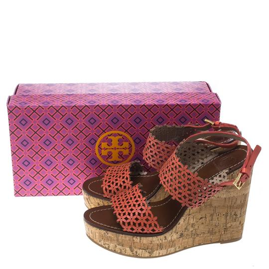 Tory Burch Perforated Leather Cork Wedge Red Sandals Image 7