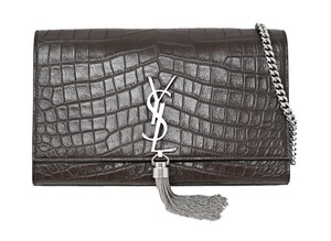 Saint Laurent Monogram Leather Tassels Cross Body Bag