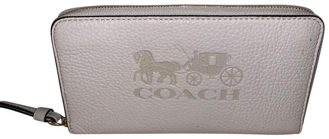 Item - White Large Leather Carriage Phone Wallet