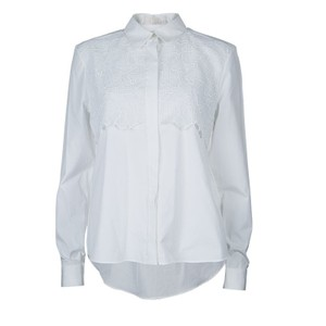 Peter Pilotto Long Sleeve. Cotton Polyester Top White