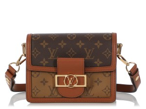 Louis Vuitton Gold Hardware Lv Leather Dauphines Reversed Shoulder Bag