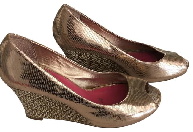 Lilly Pulitzer Gold High Wedges Size US 7.5 Regular (M, B) Lilly Pulitzer Gold High Wedges Size US 7.5 Regular (M, B) Image 1