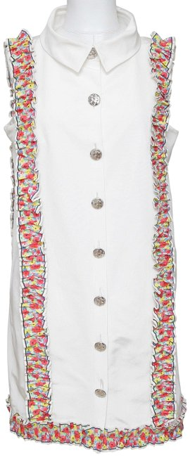 Chanel White Sleeveless Multicolor Floral Silver Hw 42 2016 Short Casual Dress Size 10 (M) Chanel White Sleeveless Multicolor Floral Silver Hw 42 2016 Short Casual Dress Size 10 (M) Image 1