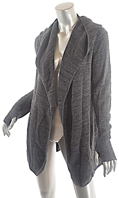 Item - Grey Heather Charcoal Cotton Mix Weave Hoodie Cardigan Size 10 (M)