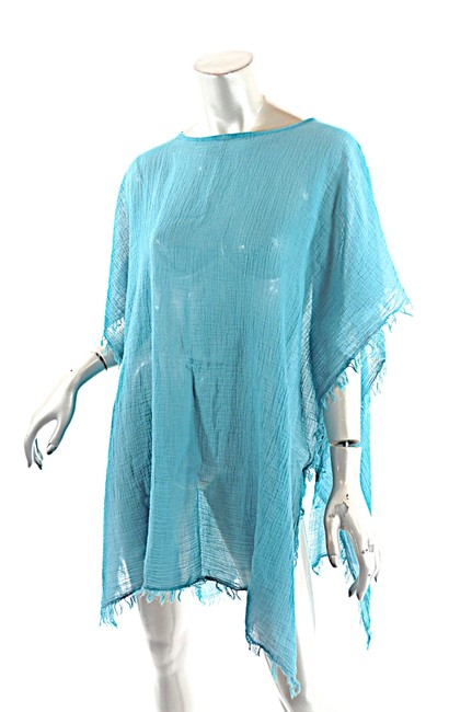 Preload https://img-static.tradesy.com/item/25833379/eileen-fisher-teal-crinkled-organic-cotton-frayed-edge-poncho-tunic-size-os-one-size-0-0-650-650.jpg