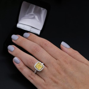 Fancy Yellow Light 18k White Gold with 5.86ct. Engagement Ring