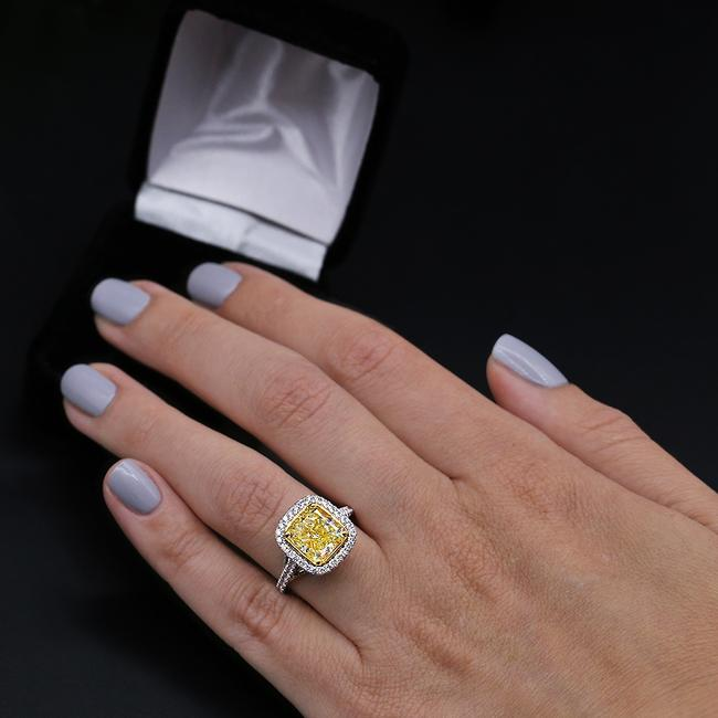 Fancy Yellow Light 18k White Gold with 5.86ct. Engagement Ring Fancy Yellow Light 18k White Gold with 5.86ct. Engagement Ring Image 1