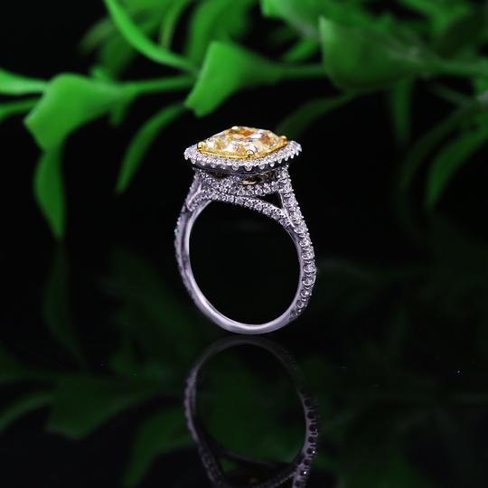 Fancy Yellow Light 18k White Gold with 5.86ct. Engagement Ring Image 1