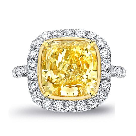 Fancy Yellow Light 18k White Gold with 5.86ct. Engagement Ring Image 2