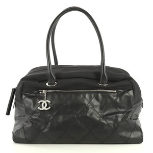 Chanel Biarritz Quilted Coated Canvas Satchel in black