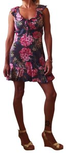 Majorelle short dress gray and pink florals on Tradesy