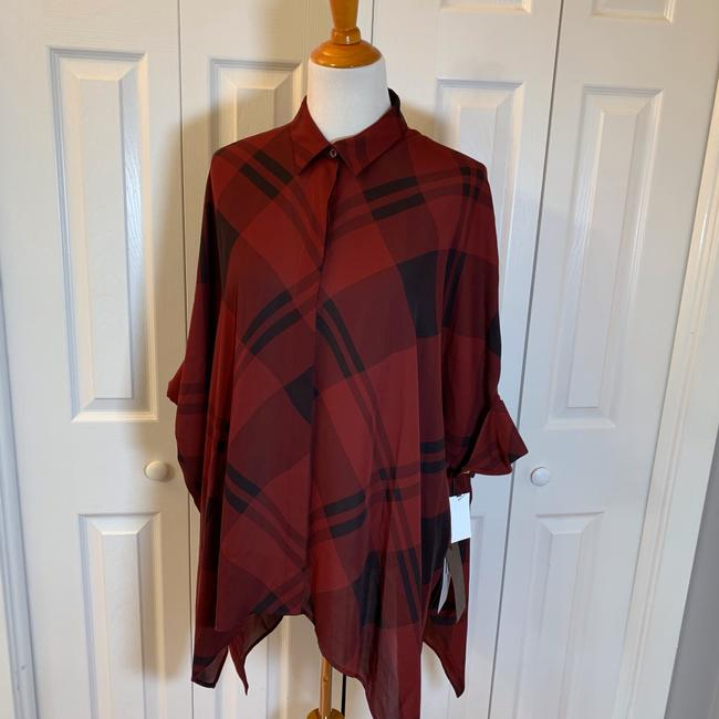 Gucci Top Red, Burgundy, Black, Plaid Image 2